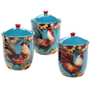 Sunflower Rooster 3-Piece Kitchen Canister Set
