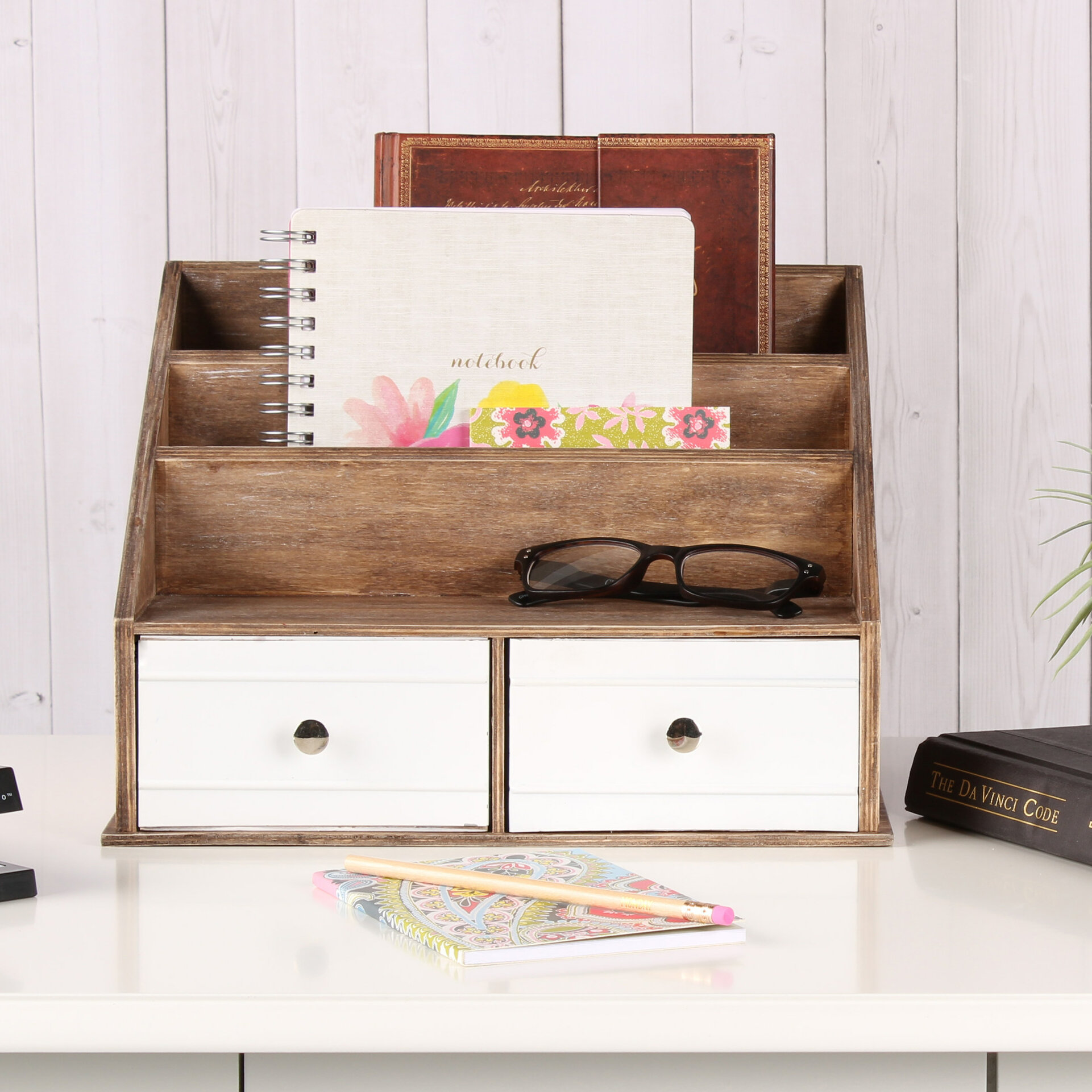 Industrious Desktop File Folder Organizer With 2 Pockets And 2 Drawers