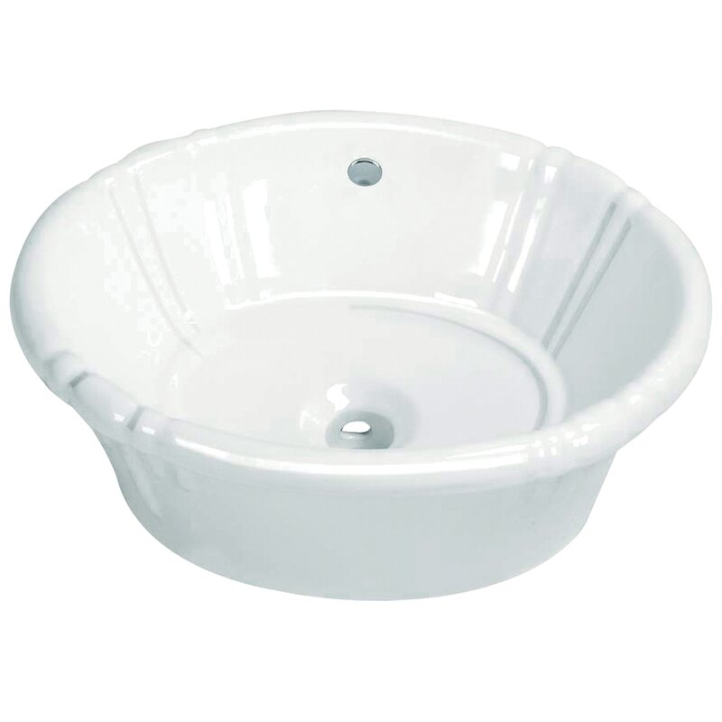 Vintage Vitreous China Oval Drop-In Bathroom Sink with Overflow