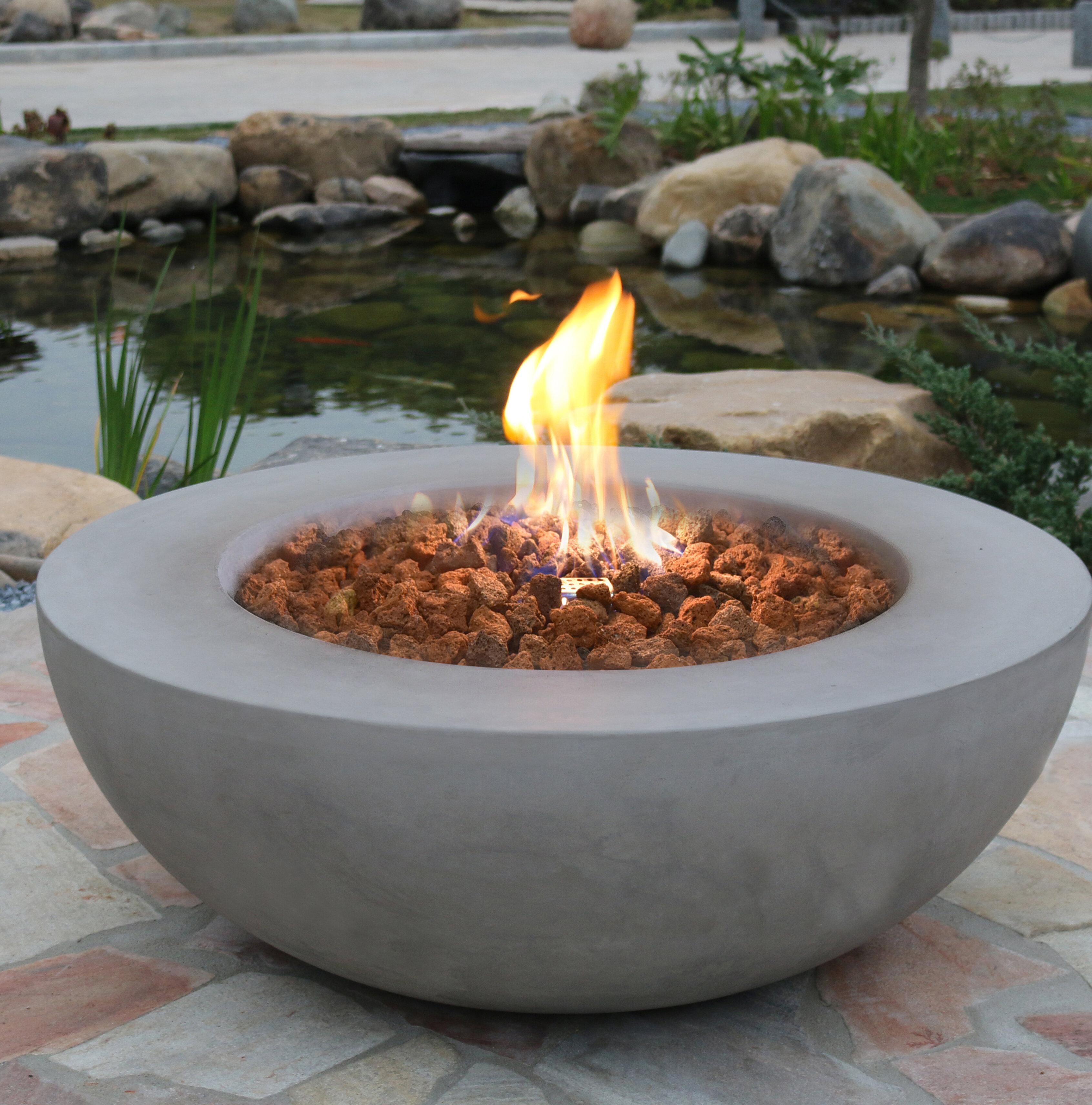 Electric Fire Pit >> Elementi Lunar Concrete Fire Pit Reviews Wayfair