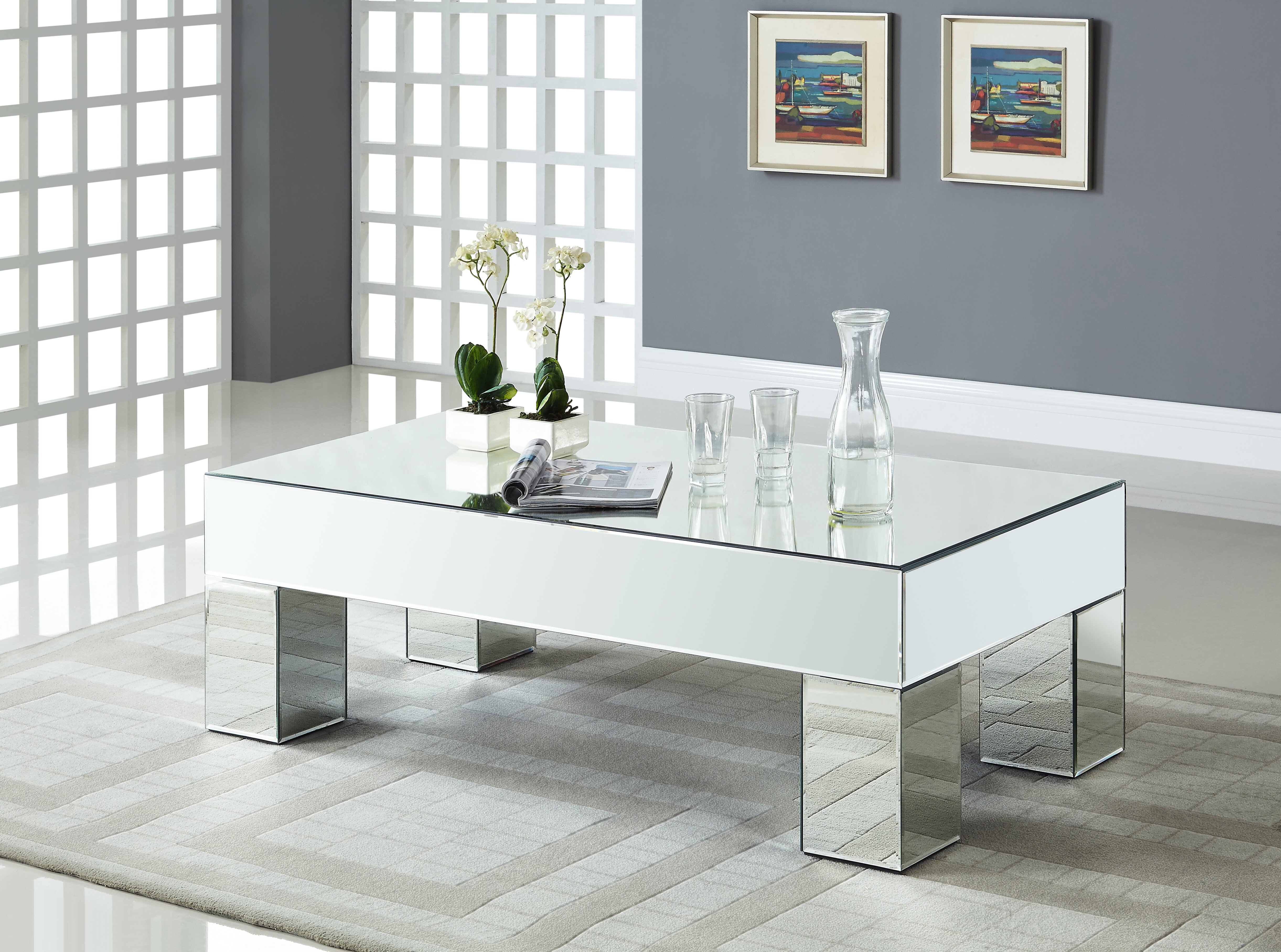 House of Hampton Nevels Mirrored Coffee Table & Reviews | Wayfair