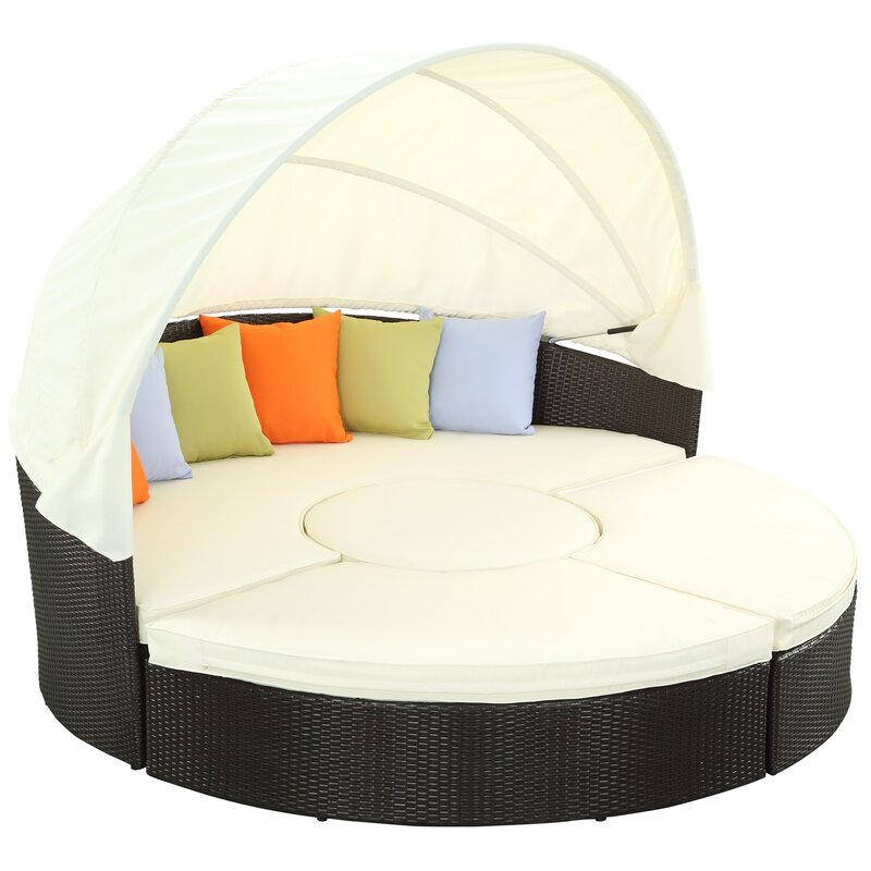 modway quest canopy daybed with cushions reviews wayfair rh wayfair com Round Outdoor Daybed with Canopy Round Outdoor Daybed with Canopy