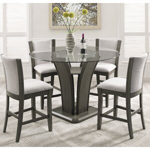 Kangas 5-Piece Round Glass Top Counter Height Dining Set by Brayden Studio