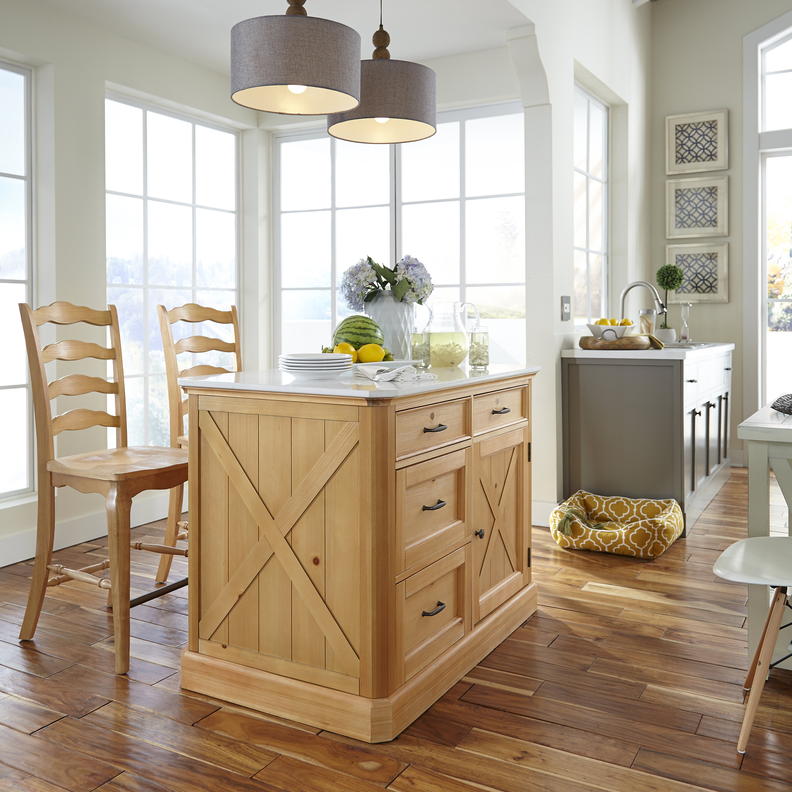 Home Styles Country Lodge Kitchen Island Set & Reviews