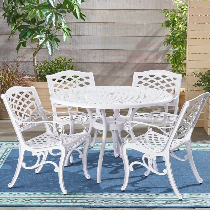Hephaestus Outdoor Cast Aluminum 5 Piece Dining Set