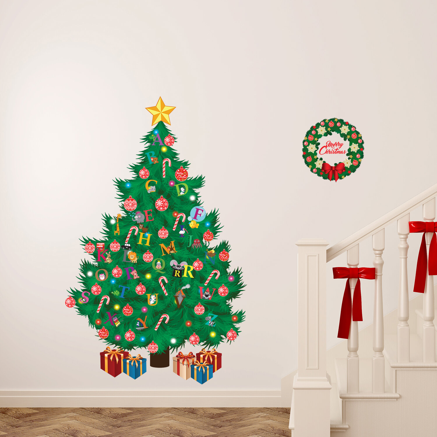 the holiday aisle learn the abc and traditional christmas tree wall decal wayfair