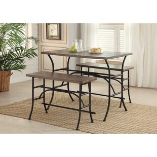Bruna Metal 3 Piece Counter Height Dining Set