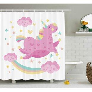 Cathy Y Chubby Legendary Unicorn With Star Rainbow Funny Cartoon Kids Nursery Decor Shower Curtain