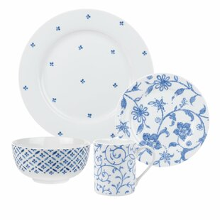 Blue Indigo 16 Piece Dinnerware Set Service for 4  sc 1 st  Wayfair : blue and white plate set - pezcame.com