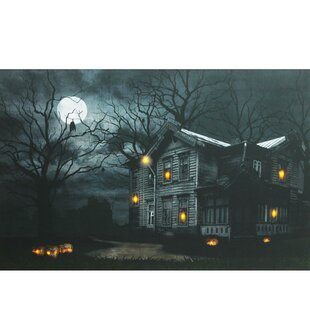 Moonlit Halloween House Battery Operated LED Lighted Graphic Art On Canvas