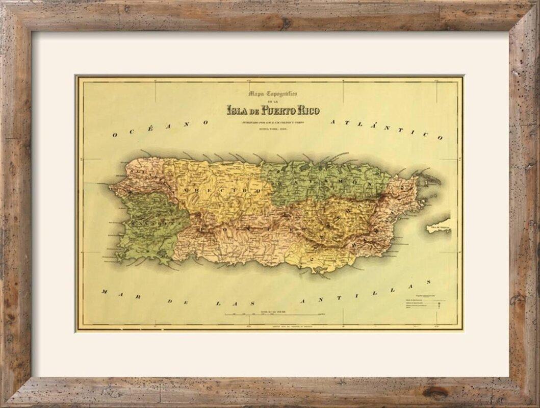 Winston Porter \'Puerto Rico - Panoramic Map\' Framed Graphic Art ...