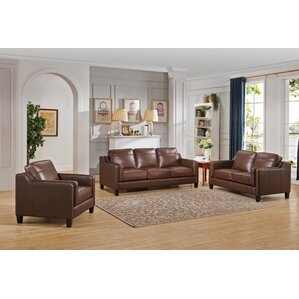 Katherine Leather 3 Piece Living Room Set by..