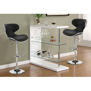 Heiss PU Leather Adjustable Height Swivel Bar Stool (Set of 2)