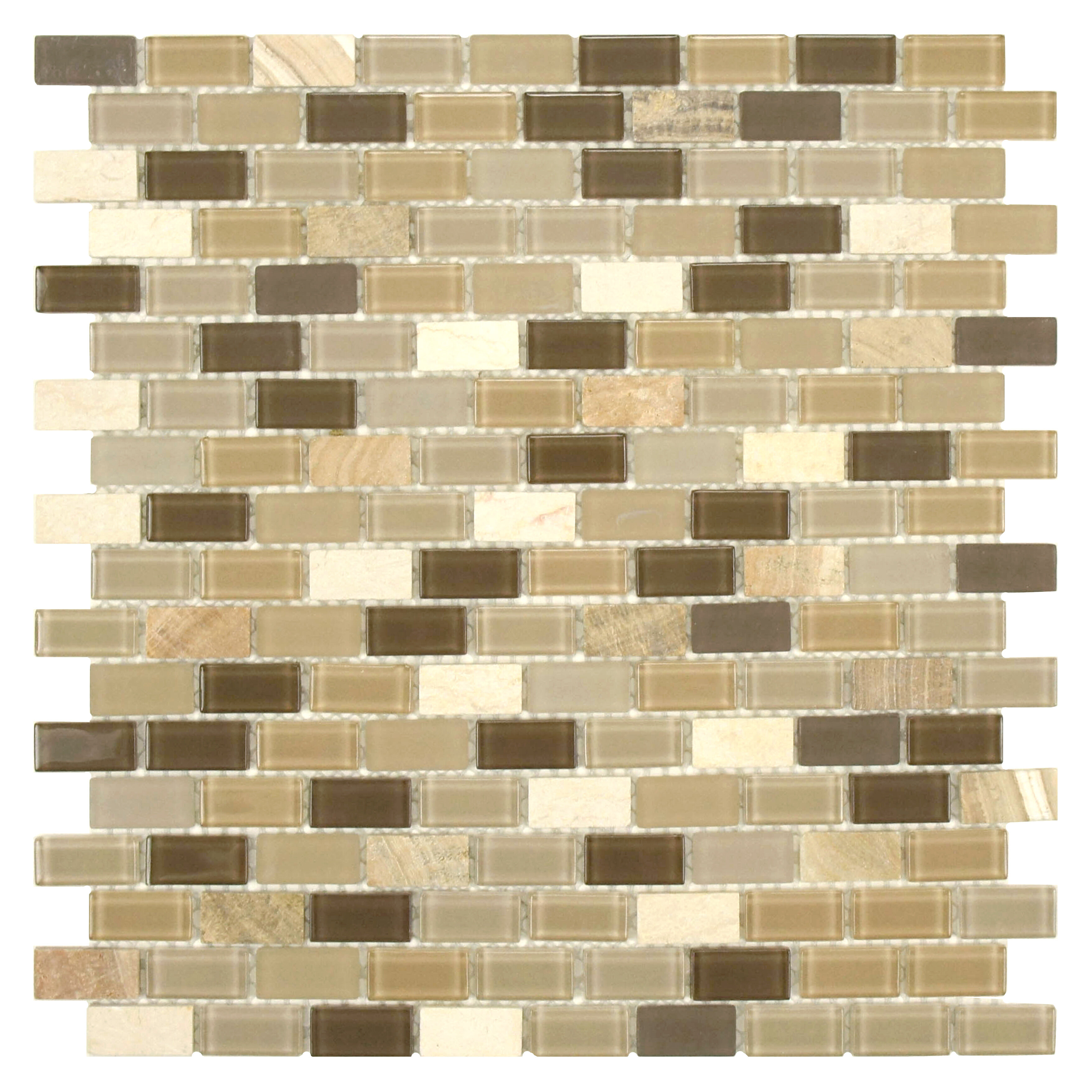 EliteTile SAMPLE - Ambit Glass and Stone Mosaic Tile in Crest | Wayfair