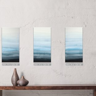 3 piece canvas paintings sunflower wall art coastal mist by norman wyatt jr piece framed painting print on canvas in bluegrayblack wall art youll love wayfair