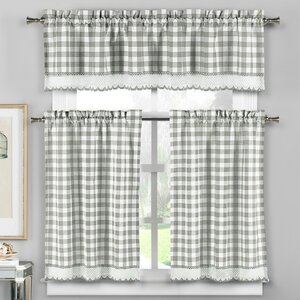 Cassia 3 Piece Crochet Kitchen Curtain Set
