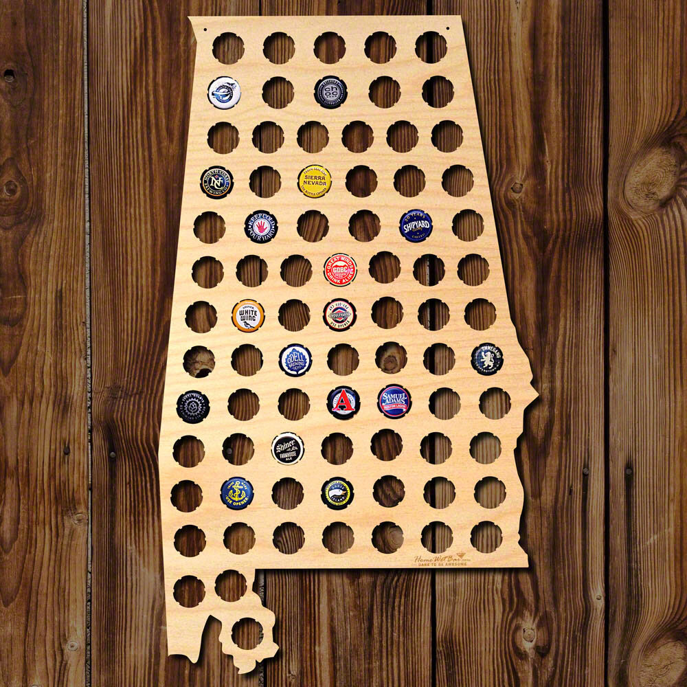 Home Wet Bar Alabama Beer Cap Map Wall Décor   Wayfair