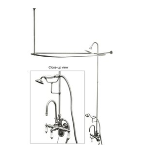 vintage triple handle high rise gooseneck clawfoot tub and shower package
