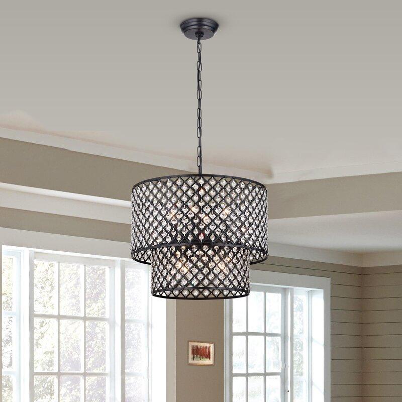 Fabrizia 8 light led drum chandelier