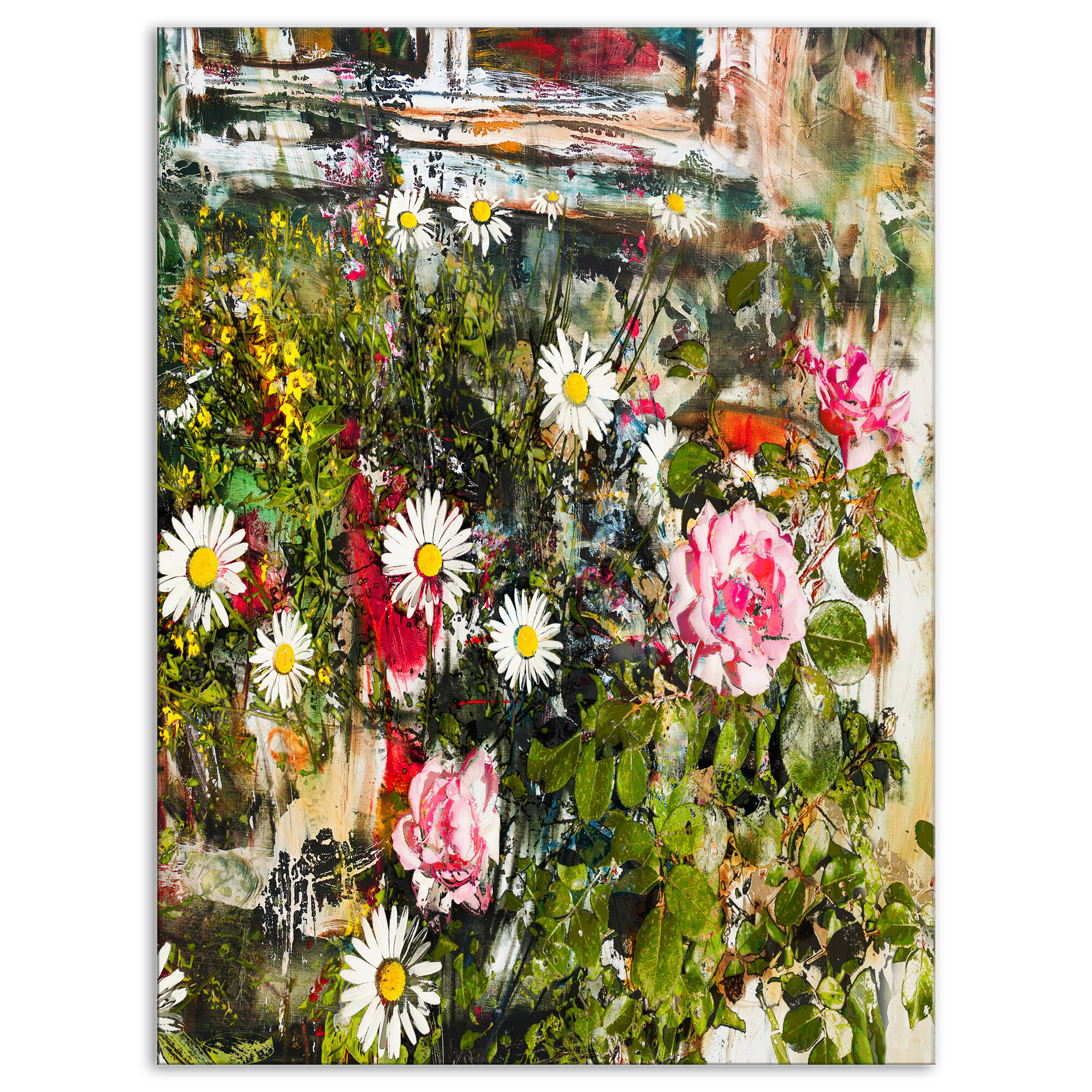 East urban home floral roses and daisies under window graphic art east urban home floral roses and daisies under window graphic art print on wrapped canvas wayfair izmirmasajfo