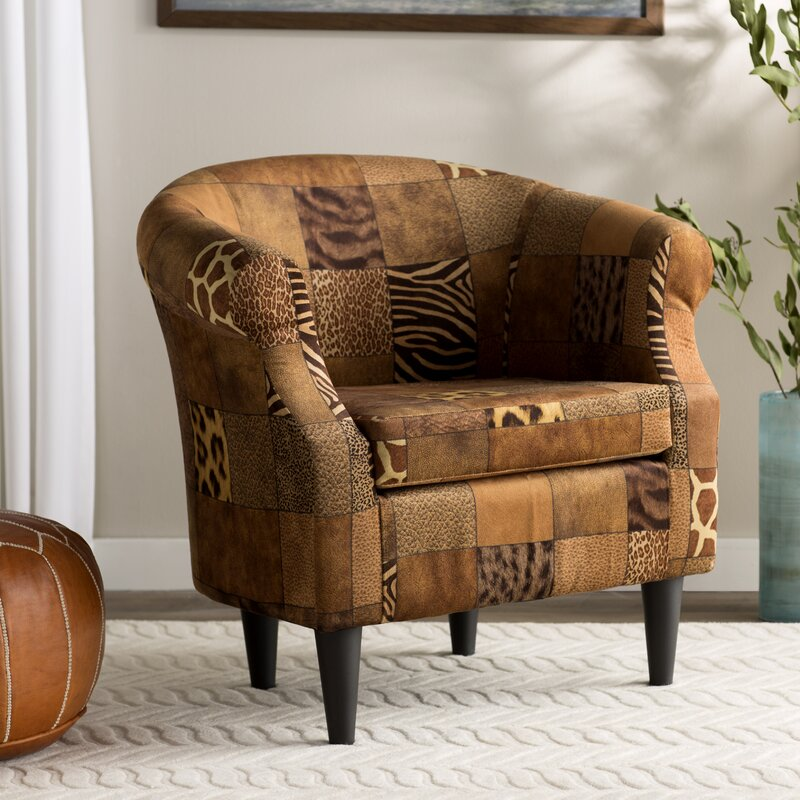 Charmant Ronda Traditional Animal Print Barrel Chair