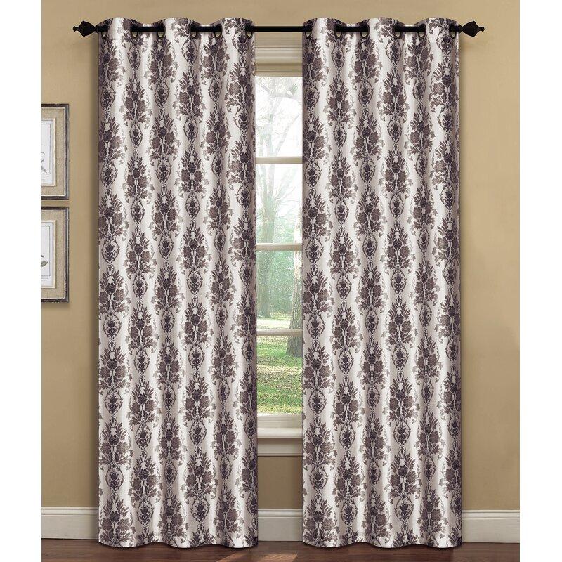 Window Elements Meridith Damask Sheer Curtain Panels