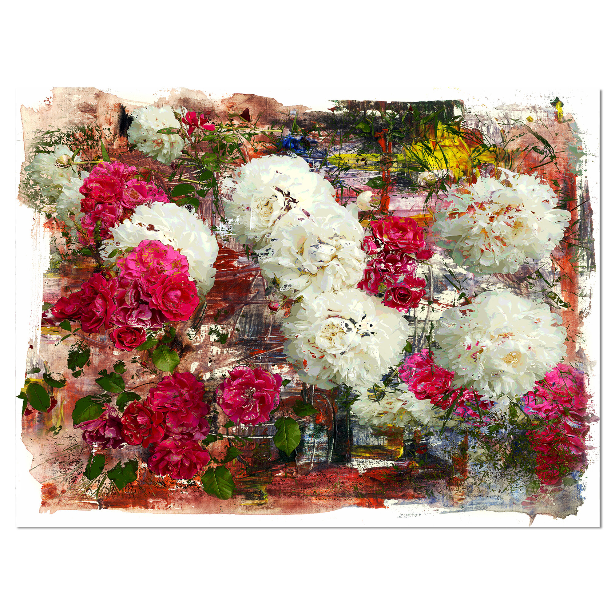 East Urban Home Floral Bouquet Of Roses And Peonies Graphic Art