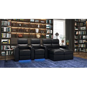 Modern Upholstered Leather Home Theater Sofa (Row of 4) by Red Barrel Studio