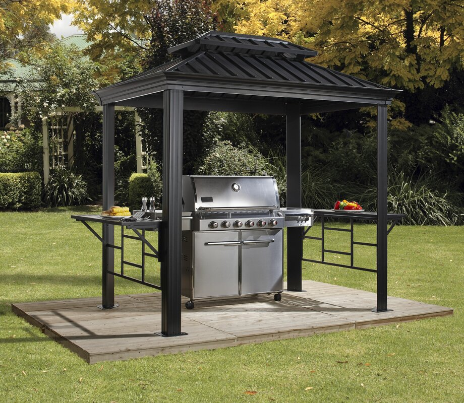 BBQ Messina 8 Ft. W x 6 Ft. D Aluminum Grill Gazebo & Sojag BBQ Messina 8 Ft. W x 6 Ft. D Aluminum Grill Gazebo ...