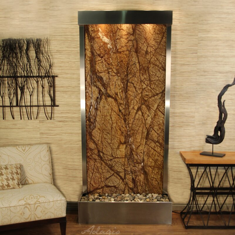 Tranquil River Natural Stone/Metal Wall Fountain with Light Finish: Stainless Steel, Stone: Rainforest Brown Marble