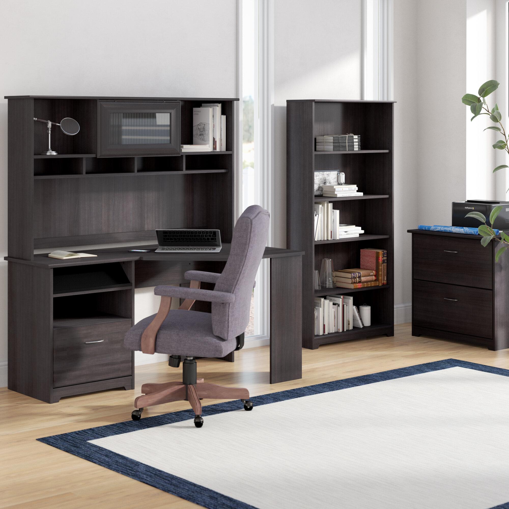 Red Barrel Studio Hilale Corner Desk With Hutch Lateral File And 5 Shelf Bookcase Wayfair