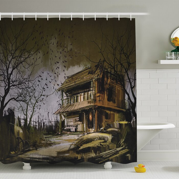 Rustic Home Old Haunted Abandoned Wood House At Dark Night With Bats Scary Horror  Shower Curtain