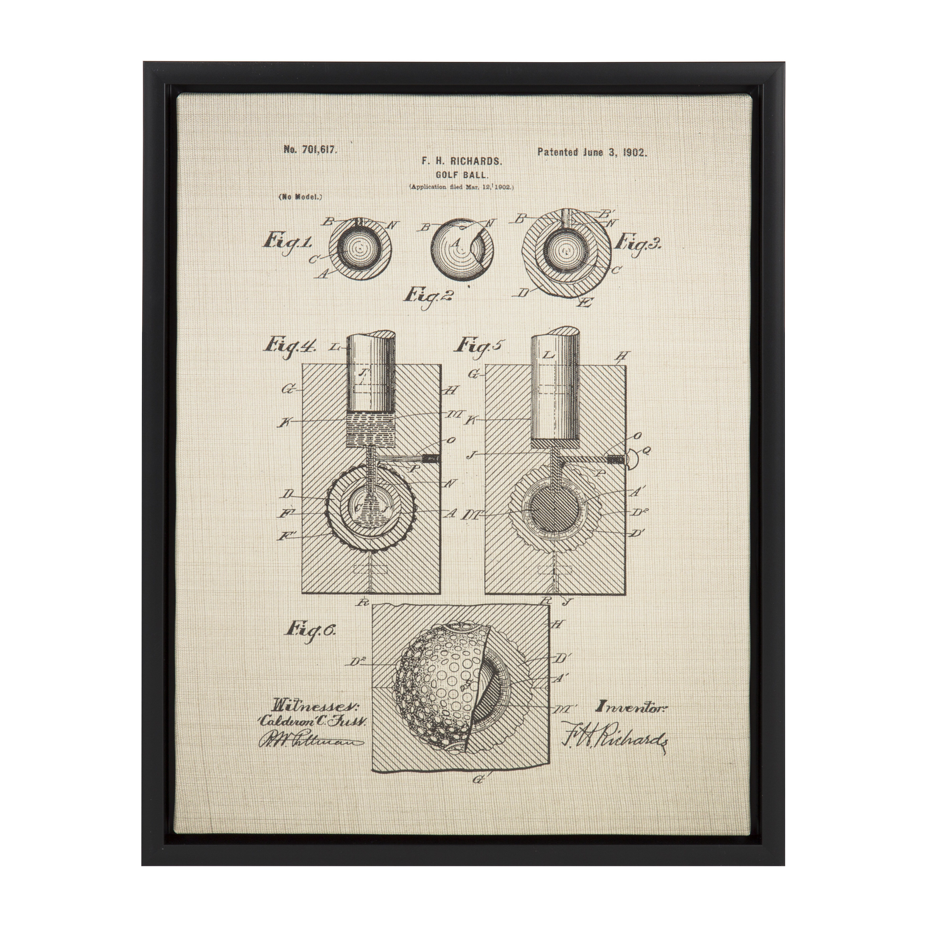 Williston Forge \'Golf Ball Patent\' Framed Graphic Art Print on ...