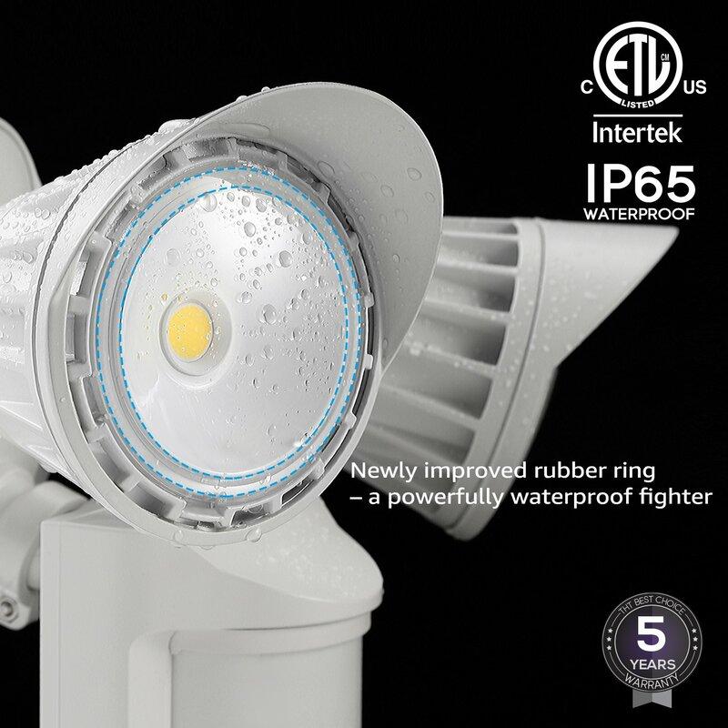 Dual Head 25-Watt LED Outdoor Security Flood Light with Motion Sensor