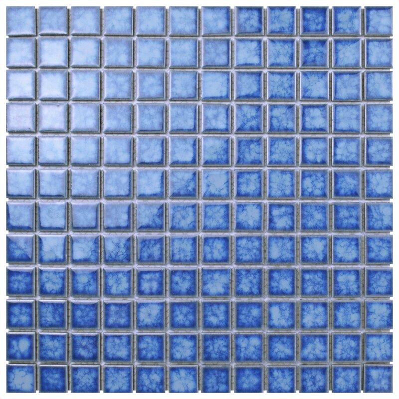 "Pool 1"" x 1"" Porcelain Mosaic Tile in Baltic"
