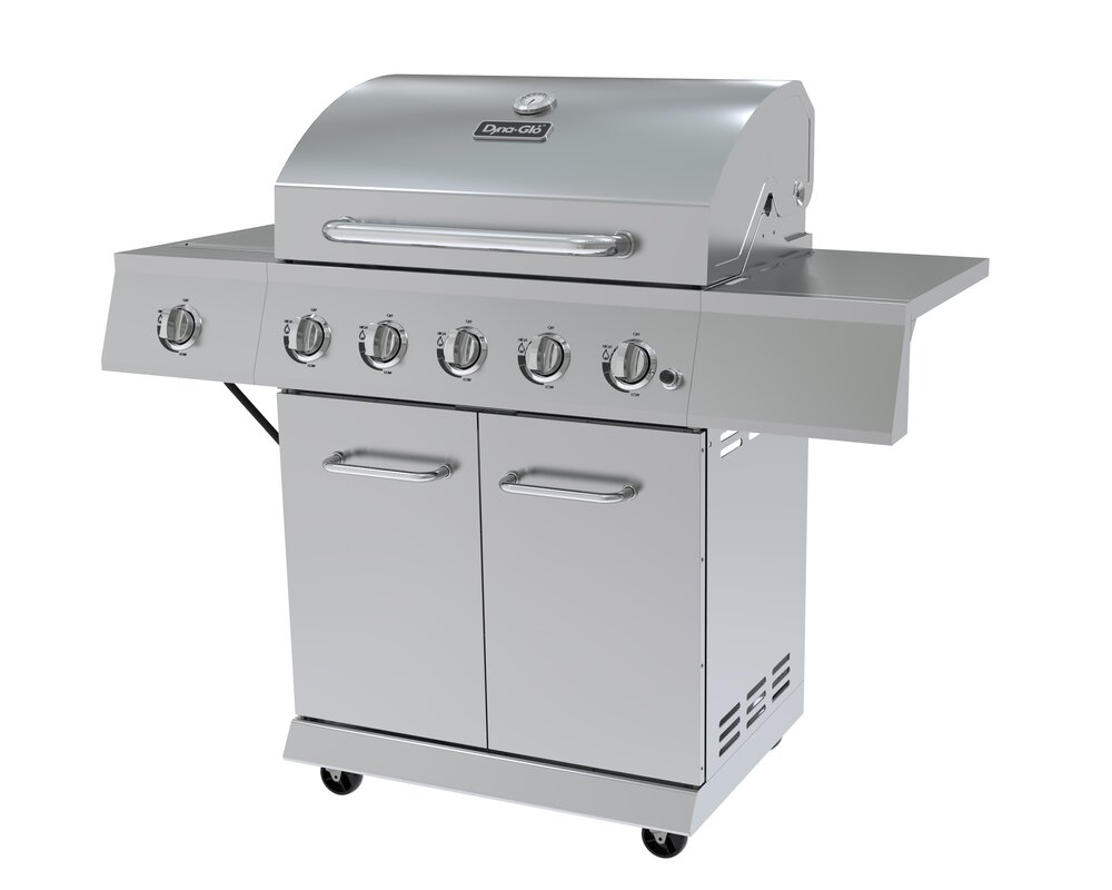 dyna glo 5 burner propane gas grill with cabinet u0026 reviews wayfair