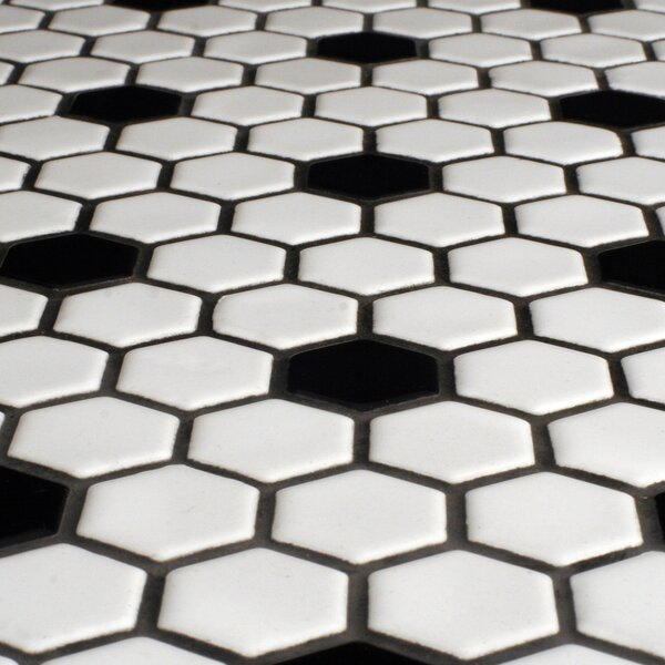 Charming Black And White Floor Tile Part - 12: Hexagonal Tile Youu0027ll Love | Wayfair