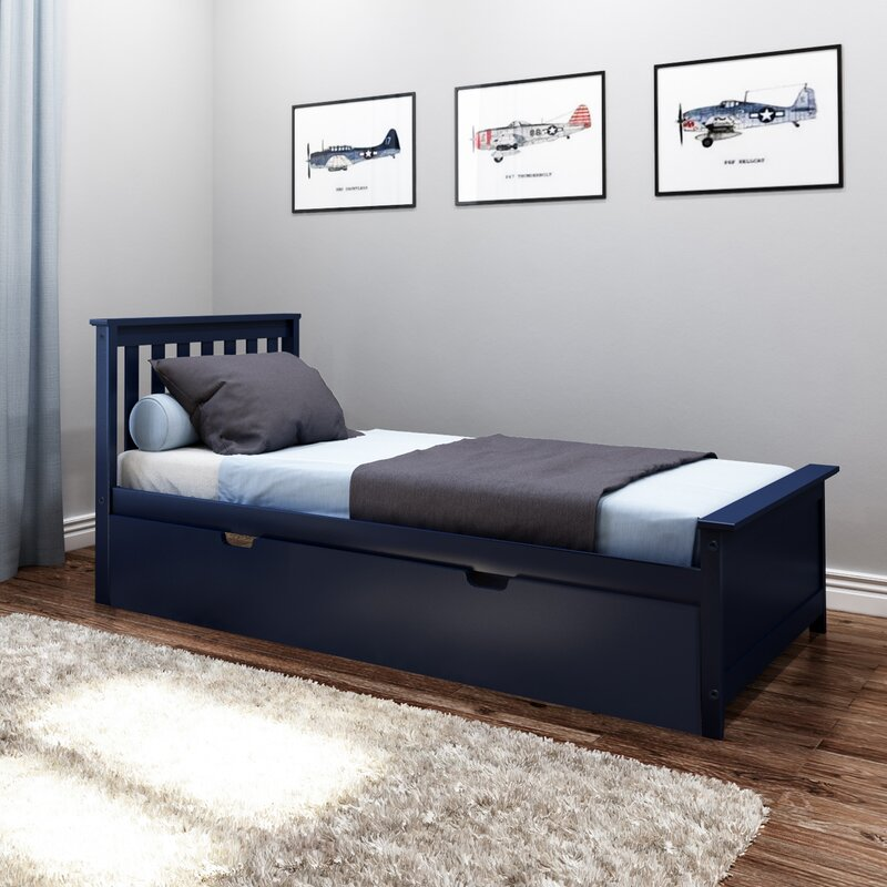 Harriet Bee Boling Solid Wood Twin Platform Bed With Trundle Frame