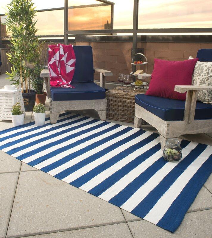 Nantucket Striped Blue U0026 White Indoor/Outdoor Area Rug