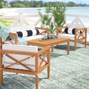 Delray 4 Piece Teak Sofa Set With Cushions