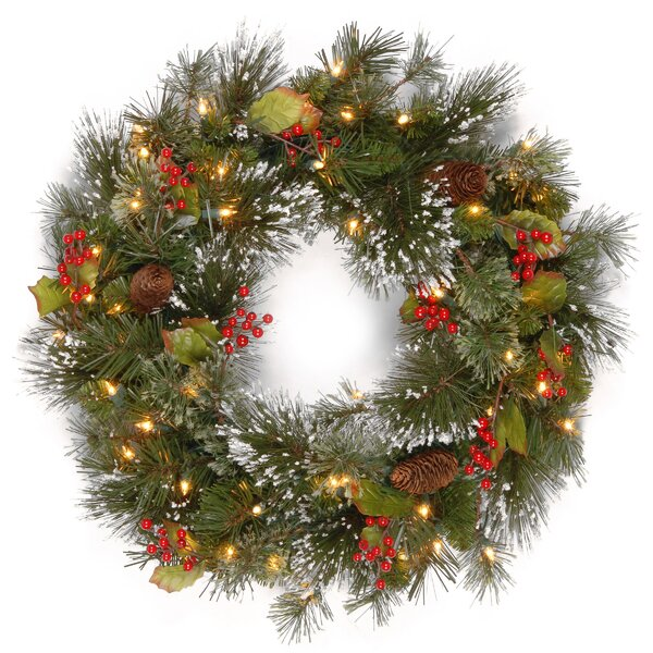 three posts pine pre lit 24 wreath with 50 battery operated white led lights reviews wayfair