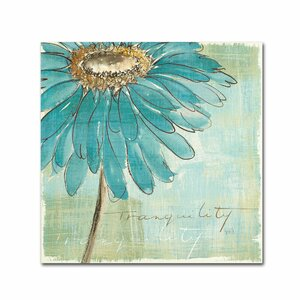 Spa Daisies III by Chris Paschke Framed on Canvas Blue