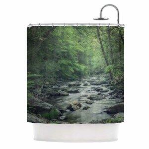 Misty Forest Stream Shower Curtain