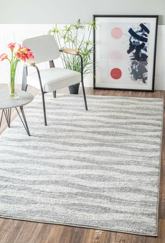 Lovely Lada Abstract Waves Gray/White Area Rug