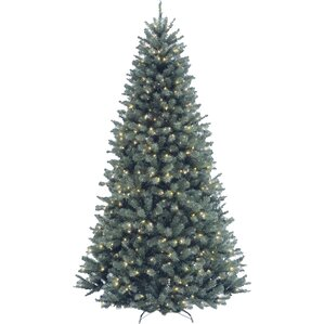 north valley spruce 75 blue artificial christmas tree with 700 clear lights and stand - White Christmas Tree Blue Lights