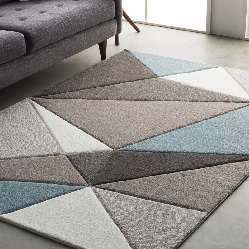 Mott Street Modern Geometric Carved Teal/Gray Area Rug