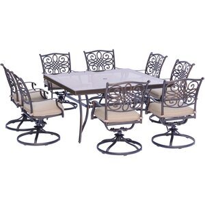Lauritsen 9 Piece Square Oil Rubbed Bronze Dining Set with Cushions