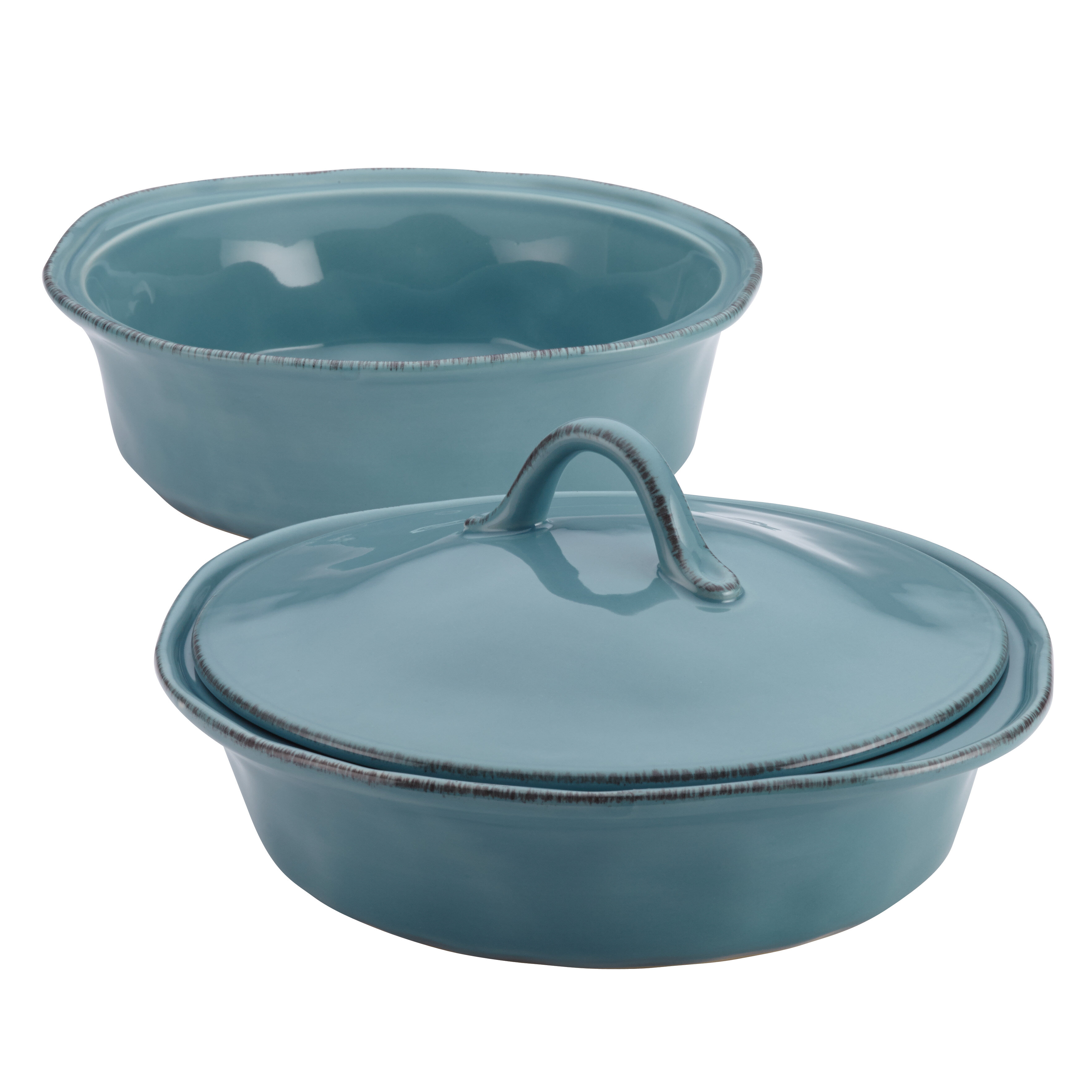 Rachael Ray Cucina 3 Piece Stoneware Round Casserole Set & Reviews ...