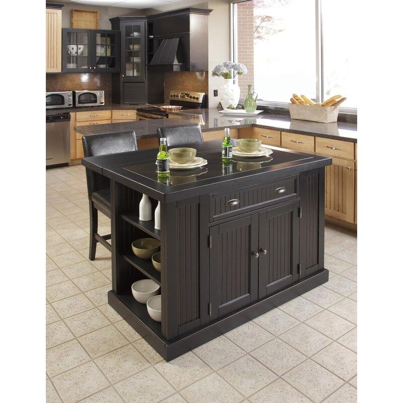 Rabin 3 Piece Kitchen Island Set With Granite Top