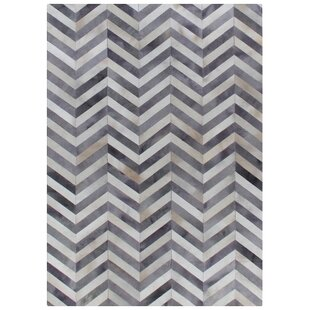 Best Price Natural Hide Hand-Woven Cowhide White/Light Gray Area Rug By Exquisite Rugs